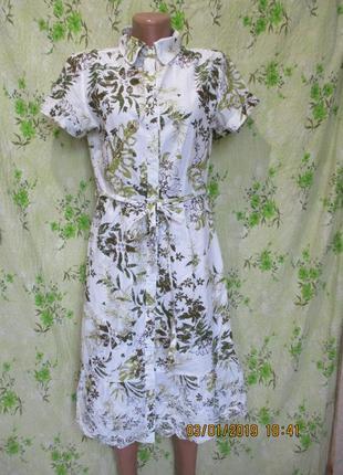Хлопковое платье-рубашка на пуговицах/халат в тропический принт/с вышивкой
