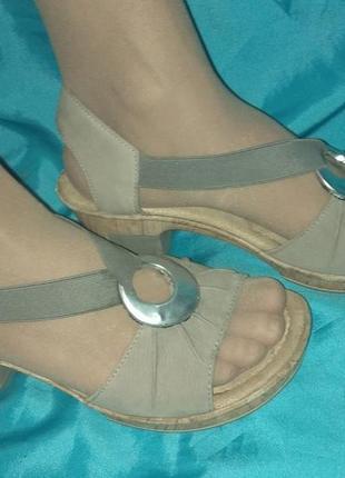 Кожаные босоножки rieker (германия) р 40 на широкую ногу