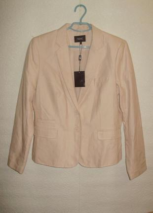 Новый с биркой пудровый льняной пиджак/блейзер 16/50-52 размера