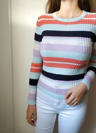 Полосатая кофта свитер водолазка гольф