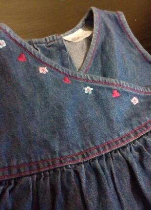 Сарафанчик джинсовый на маленькую принцессу 6-9 мес.