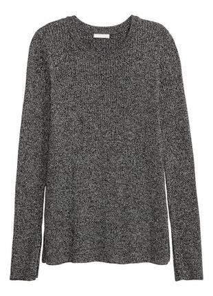 Хлопковый свитер в рубчик темно-серого цвета меланж h&m черный джемпер с разрезами1 фото