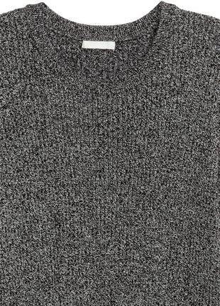 Хлопковый свитер в рубчик темно-серого цвета меланж h&m черный джемпер с разрезами3 фото