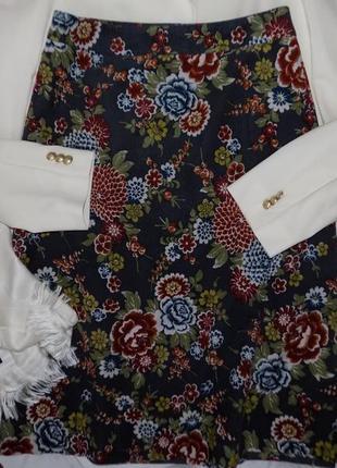 Красивая юбка 🌸микро/вельвет, винтажный🌸 цветочный 🌸принт🌸