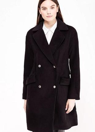 Стильное базовые чёрное пальто ламода
