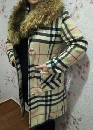 Шерстяное пальто с натуральным мехом