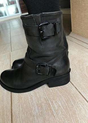 Ботинки кожаные зимние сапоги тёплые на меху натуральная кожа