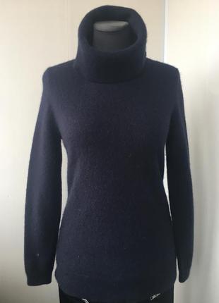 Пушистый кашемировый гольф свитер с горлом, натуральный кашемир, темно синий