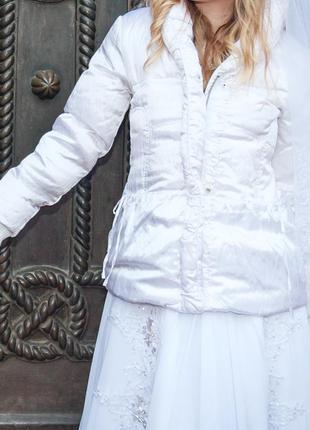 Белая теплая куртка  тёплый пуховик motor jeans