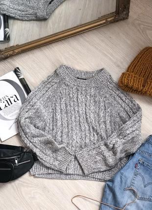 Тёплый серый свитер красивой вязки от h&m в идеальном состоянии