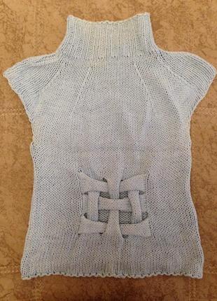 Голубой вязаный свитер,свитерок,теплый зимний свитер с короткими рукавами,кофта безрукавка