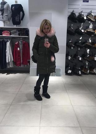 Тёплая зимняя куртка- парка, цвета хаки, размер с