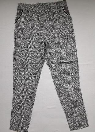 Суперовые брюки в мраморный принт расшитые бисером карманы cream