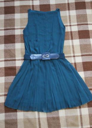 Распродажа очень красивое шифоновое платье плиссе цвет темный изумруд размер s-м/44-46