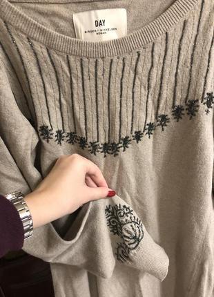 💫брендовый удлинённый свитер , вышит бисером, 30% шерсти, индия  😍