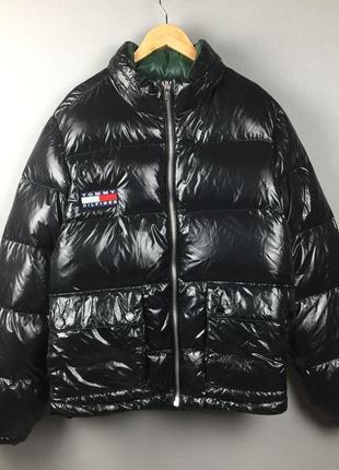 Черный пуховик tommy hilfiger теплая зимняя куртка большой размер xxl
