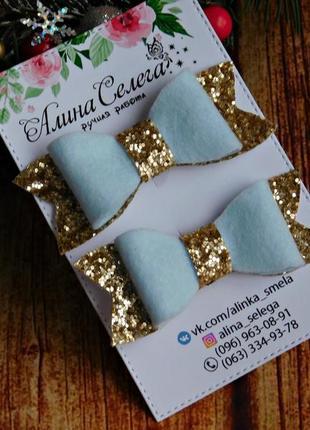 Резиночки с бантиками цвет голубой