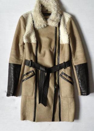 Пальто дубленка зима удлиненное пальто куртка теплая дублёнка super rash
