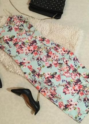 Сногсшибательное крутое платье мятного цвета в принт цветы от boohoo на р. 36/s...💄❤️💋