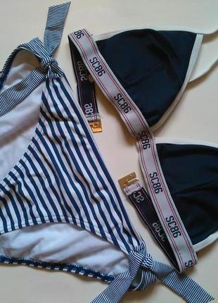 70а-в, 75а рр 10 модный синий купальник треугольные чашки на а-а,5