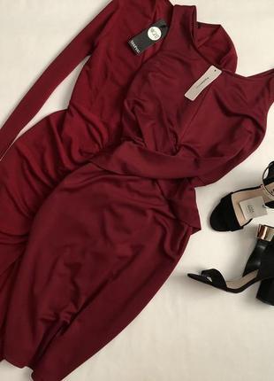 Новое элегантное платье миди марсала fashhion mia