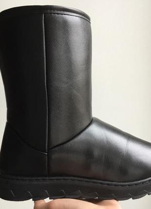 Угги черные средние эко кожаные мужские сапоги уги дутики
