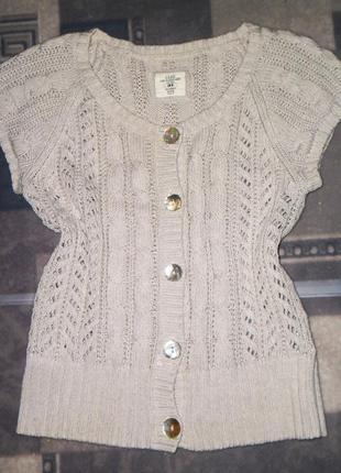Женская,зимняя,вязаная,серебристая кофта, безрукавка,жилет,с узором h&m