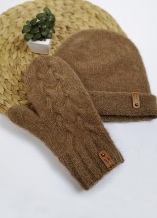 Теплые коричневые зимние варежки альпака от bregoli design