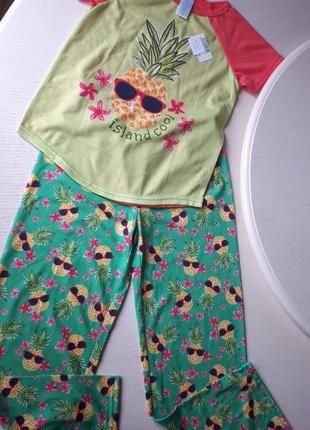 Пижама ананас, m 7 лет, 8 лет, штаны и футболка