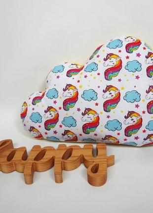 Декоративная двухсторонняя подушка облако - единороги, подушка единорог