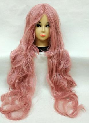 Парик волнистый розовый 100см с пробором 3483