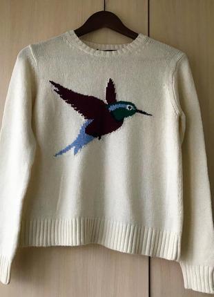 Белый свитер с птичкой mango suit, m