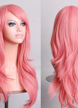 Парик розовый 70см 3523