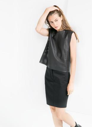 Черная прямая юбка mango