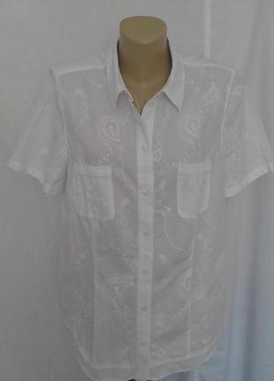 Роскошная белая блузка,рубашка с вышивкой,на пуговицах,два кармана bonita