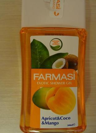 Гель для душа с ароматом абрикоса , кокоса, манго фармаси турция