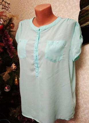 Блуза с карманами, кружево, цвет ментол. 1+1= 50% скидки на 3ю вещь.