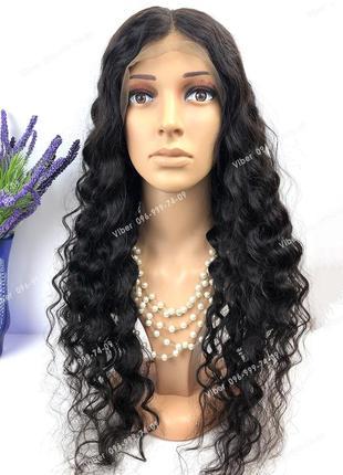Натуральный парик длинный волна, черный кучерявый волос, на сетке
