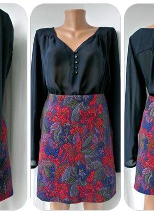 Стильная фирменная жаккардовая юбка george. размер uk14/42.