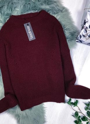 Крутий оверсайз светрик / теплый оверсайз свитер марсала бордо бургунди boohoo