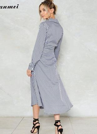 Трикотажное платье - халат - принт шахматы от l до xxl