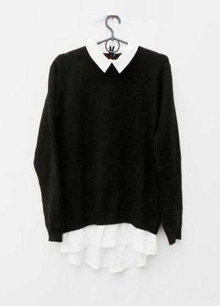 Осенний мягкий вязаный свитер с воротником с длинным рукавом на молнии