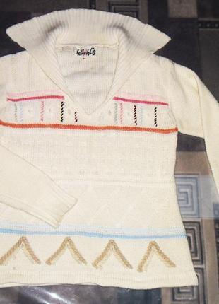 Женская,зимняя,вязаная,белая кофта,свитер vicki volts с узором oversize, свободный крой