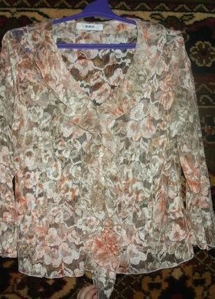 Блуза ажурная в цветы персикового цвета biba