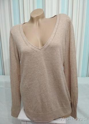 Свитер пуловер кофта чистошерстяной песочного цвета