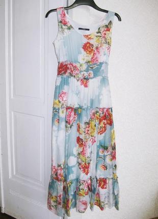 Длинное красивое платье eve нарядное можно выпускное голубое с цветами