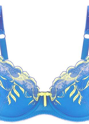 Бюст silenza, новый, р.80d, голубой с лимонной вышивкой