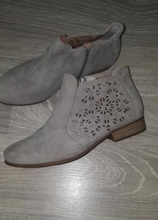 Новые tamaris ботинки ботильоны кожа замша 37 беж деми женские серые1