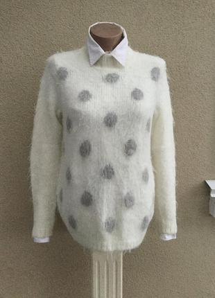 Белый,пушистый,горохи свитер,кофта,гольф,водолазка,акрил+альпака(шерсть).maddison