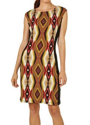 """Комбинированное платье shift: перед с этническим принтом , а спинка черная, размер """"10"""""""